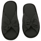 Deluxe Comfort Cotton Poka Dot Womens Open Toe Flip-Flops, Size 7-8 - Be Hip While Staying Comfy - Cute Classic Butterfly Bow - Soft, Gripping Non-Slip Durable Rubber Sole - Womens Slippers, Black