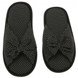 Deluxe Comfort Cotton Poka Dot Womens Open Toe Flip-Flops, Size 9-10 - Be Hip While Staying Comfy - Cute Classic Butterfly Bow - Soft, Gripping Non-Slip Durable Rubber Sole - Womens Slippers, Black