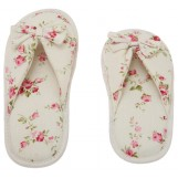 Deluxe Comfort Grandmas Garden Cotton Womens Open Toe Slippers, Size 5-6 - Cute Classic Butterfly Bow - Comfy Memory Foam - Soft, Gripping Non-Slip Durable Rubber Sole - Womens Slippers, White Floral