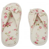 Deluxe Comfort Grandmas Garden Cotton Womens Open Toe Slippers, Size 7-8 - Cute Classic Butterfly Bow - Comfy Memory Foam - Soft, Gripping Non-Slip Durable Rubber Sole - Womens Slippers, White Floral