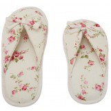 Deluxe Comfort Grandmas Garden Cotton Womens Open Toe Slippers, Size 9-10 - Cute Classic Butterfly Bow - Comfy Memory Foam - Soft, Gripping Non-Slip Durable Rubber Sole - Womens Slippers, White Floral
