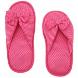 Deluxe Comfort Cotton Poka Dot Womens Open Toe Flip-Flops, Size 9-10 - Be Hip While Staying Comfy - Cute Classic Butterfly Bow - Soft, Gripping Non-Slip Durable Rubber Sole - Womens Slippers, Pink