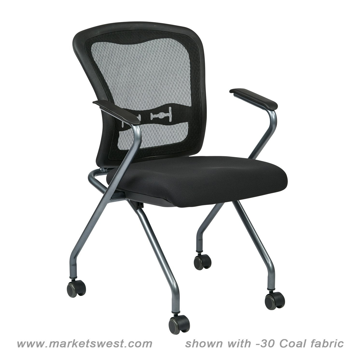 Deluxe Folding Chair With Progrid Back Arms And Titanium
