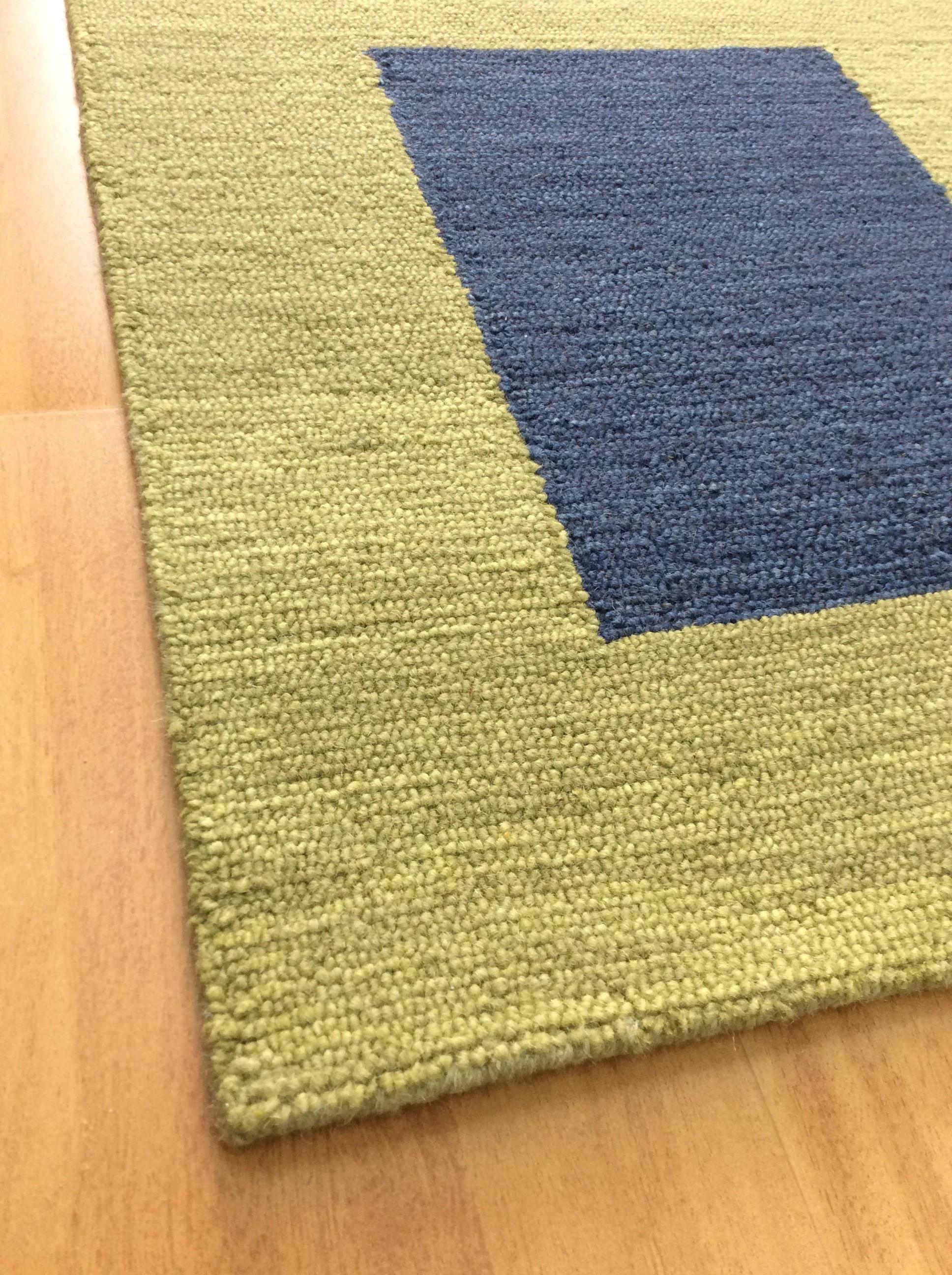 Handmade Wool Modern Green Navy Blue 5 X 8 Lt1459 Area Rug
