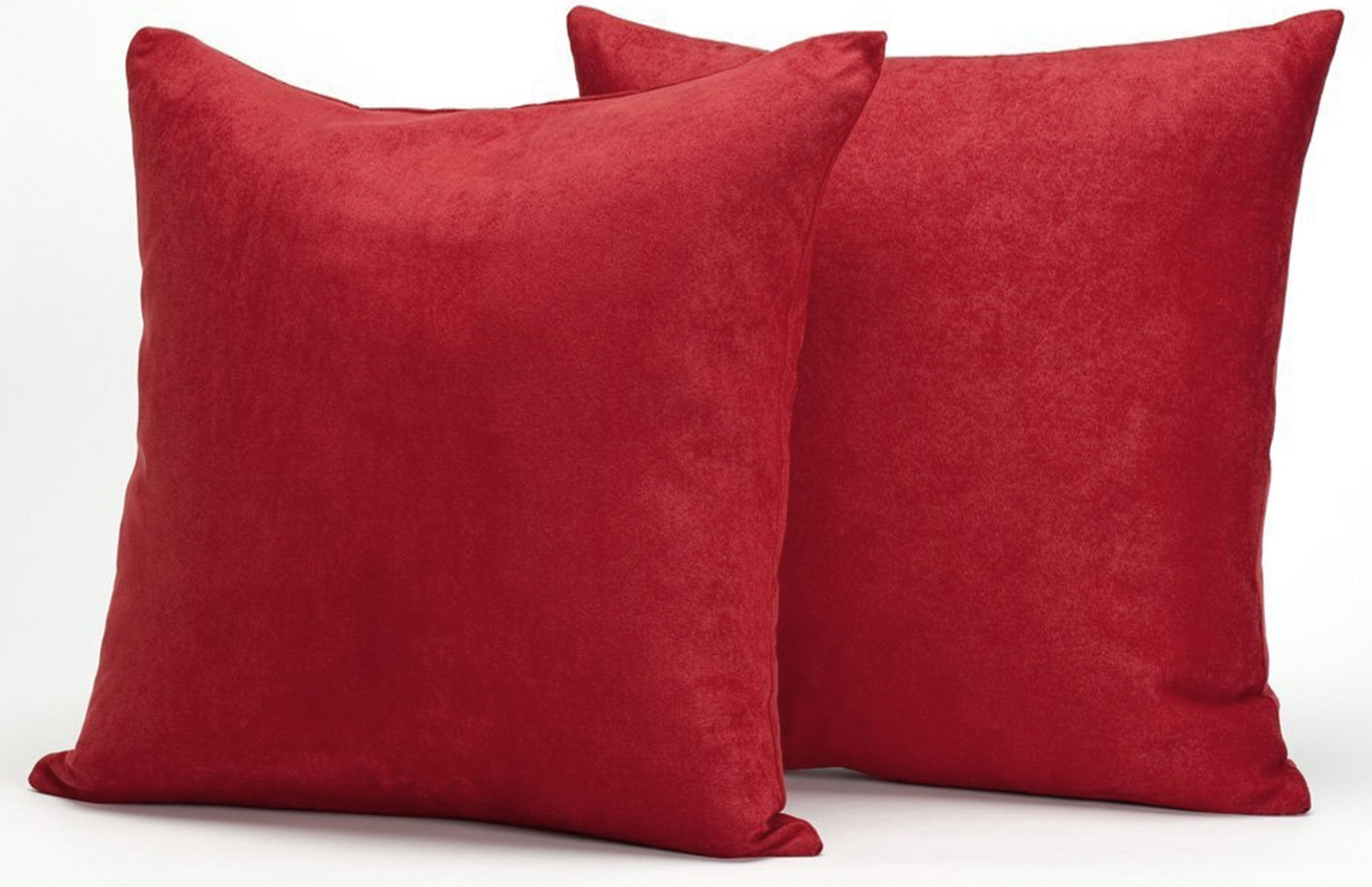 Throw Pillow Filling : Red Microsuede Couch Pillows / Sets of Two Throw Pillows, 18-Inch-by-18-Inch- Decorative Solid ...